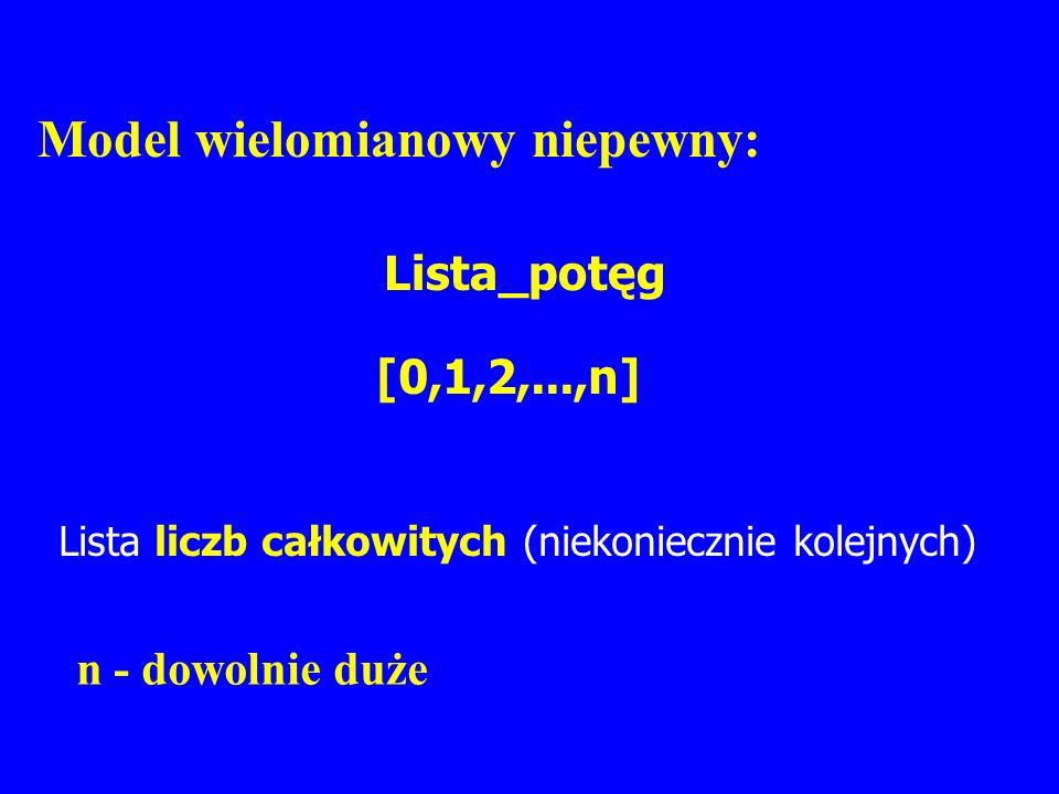 Model wielomianowy niepewny: Lista_potęg [0,1,2,...,n] n - dowolnie duże Lista liczb całkowitych (niekoniecznie kolejnych)