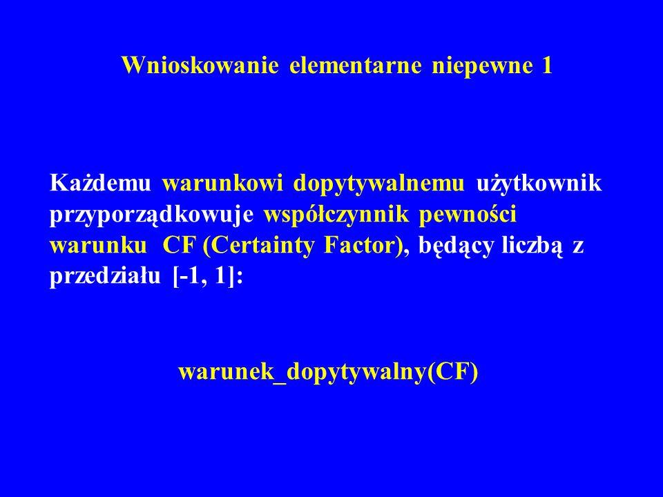 Wnioskowanie elementarne niepewne 1 Każdemu warunkowi dopytywalnemu użytkownik przyporządkowuje współczynnik pewności warunku CF (Certainty Factor), b