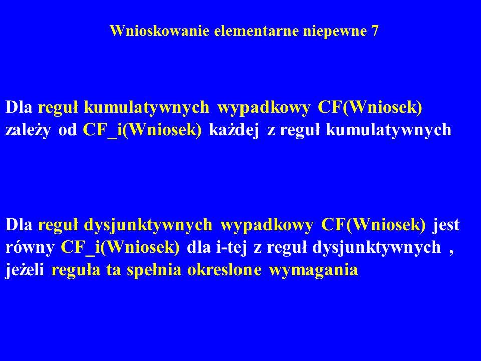 Wnioskowanie elementarne niepewne 7 Dla reguł kumulatywnych wypadkowy CF(Wniosek) zależy od CF_i(Wniosek) każdej z reguł kumulatywnych Dla reguł dysju
