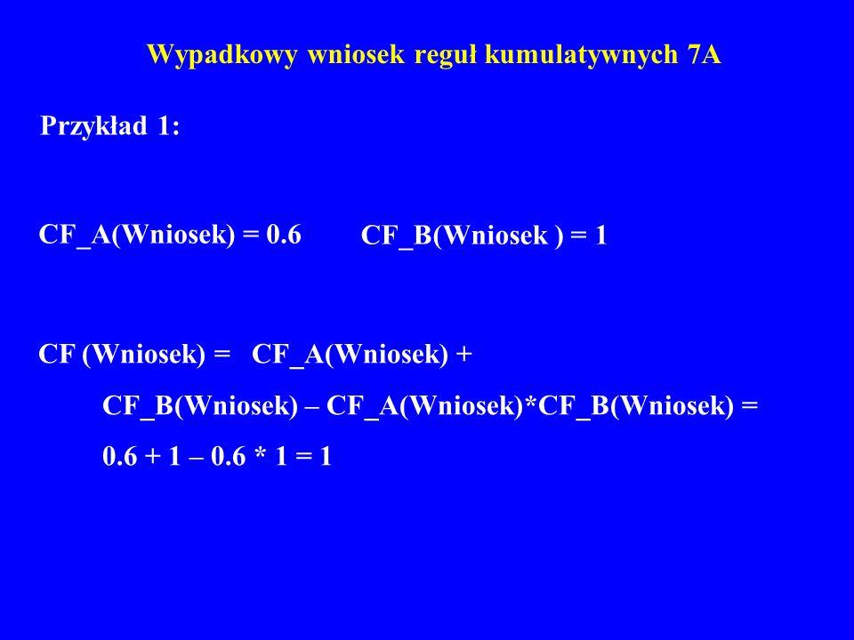 Wypadkowy wniosek reguł kumulatywnych 7A Przykład 1: CF_A(Wniosek) = 0.6 CF_B(Wniosek ) = 1 CF (Wniosek) = CF_A(Wniosek) + CF_B(Wniosek) – CF_A(Wniose