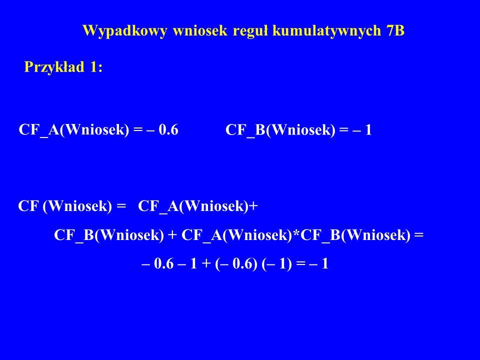 Wypadkowy wniosek reguł kumulatywnych 7B Przykład 1: CF (Wniosek) = CF_A(Wniosek)+ CF_B(Wniosek) + CF_A(Wniosek)*CF_B(Wniosek) = – 0.6 – 1 + (– 0.6) (