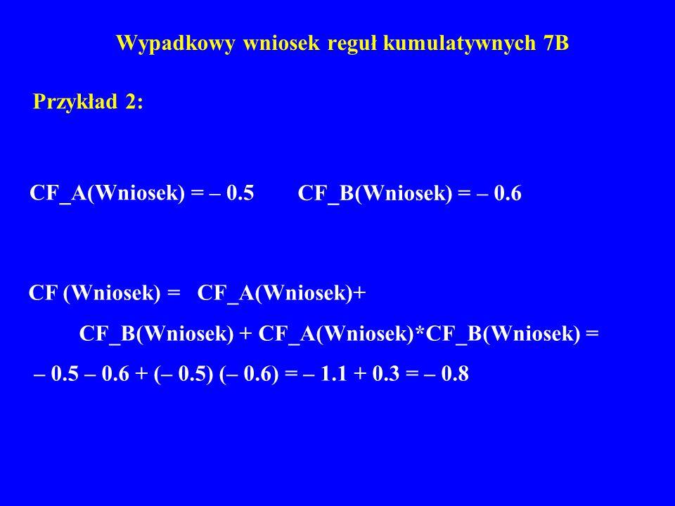 Wypadkowy wniosek reguł kumulatywnych 7B Przykład 2: CF (Wniosek) = CF_A(Wniosek)+ CF_B(Wniosek) + CF_A(Wniosek)*CF_B(Wniosek) = – 0.5 – 0.6 + (– 0.5)