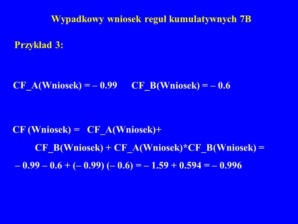 Wypadkowy wniosek reguł kumulatywnych 7B Przykład 3: CF (Wniosek) = CF_A(Wniosek)+ CF_B(Wniosek) + CF_A(Wniosek)*CF_B(Wniosek) = – 0.99 – 0.6 + (– 0.9