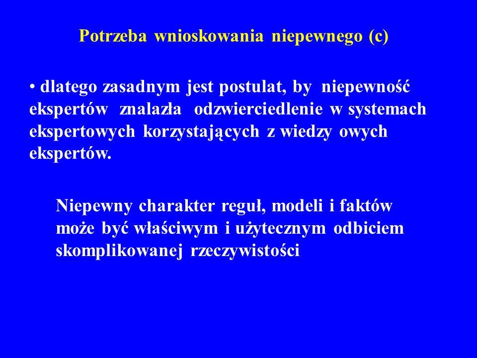 Wypadkowy wniosek reguł kumulatywnych 7C Przykład 6: CF_A(Wniosek) = – 1.0 CF_B(Wniosek) = 0.8 = – 0.2/(1 – 0.8) = – 0.2 / 0.2 = – 1.0 CF (Wniosek) = 1-min[| CF_A(Wniosek)|,|CF_B(Wniosek)|] CF_A(Wniosek) +CF_B(Wniosek) =