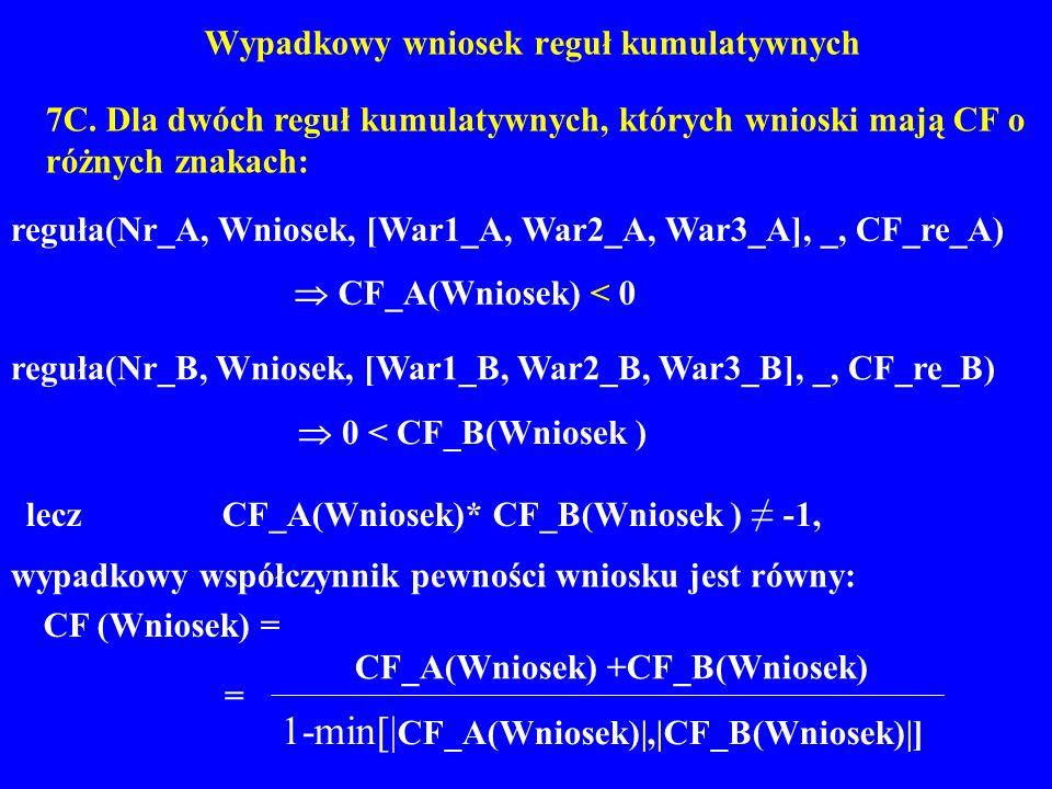 Wypadkowy wniosek reguł kumulatywnych 7C. Dla dwóch reguł kumulatywnych, których wnioski mają CF o różnych znakach: reguła(Nr_A, Wniosek, [War1_A, War
