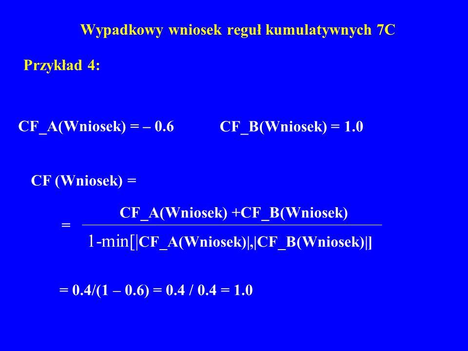 Wypadkowy wniosek reguł kumulatywnych 7C Przykład 4: CF_A(Wniosek) = – 0.6 CF_B(Wniosek) = 1.0 = 0.4/(1 – 0.6) = 0.4 / 0.4 = 1.0 CF (Wniosek) = 1-min[