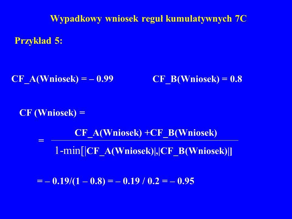 Wypadkowy wniosek reguł kumulatywnych 7C Przykład 5: CF_A(Wniosek) = – 0.99 CF_B(Wniosek) = 0.8 = – 0.19/(1 – 0.8) = – 0.19 / 0.2 = – 0.95 CF (Wniosek
