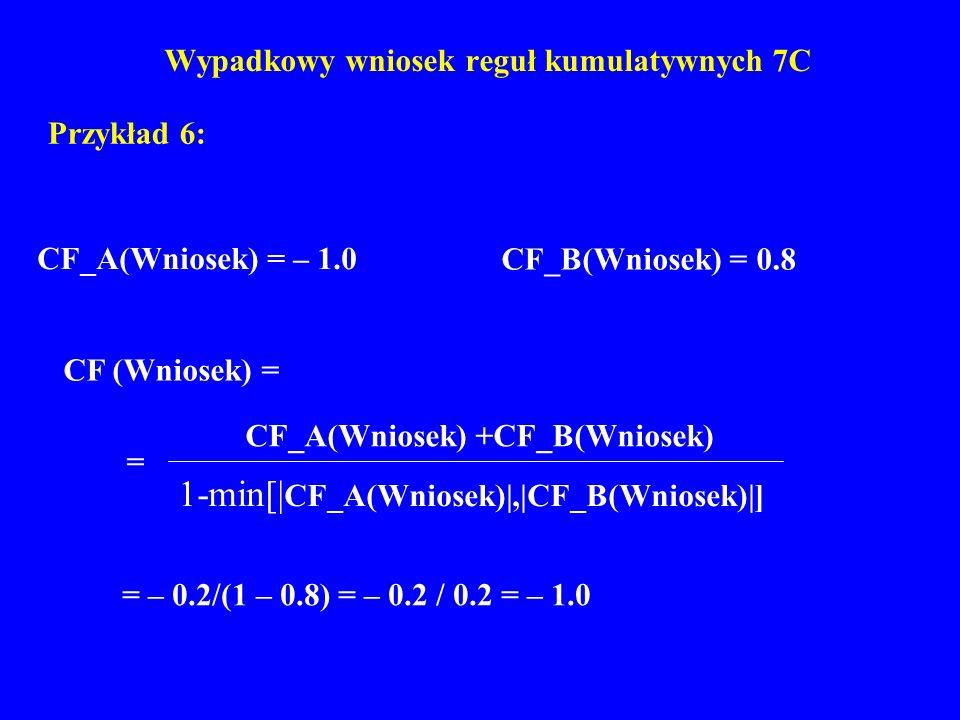 Wypadkowy wniosek reguł kumulatywnych 7C Przykład 6: CF_A(Wniosek) = – 1.0 CF_B(Wniosek) = 0.8 = – 0.2/(1 – 0.8) = – 0.2 / 0.2 = – 1.0 CF (Wniosek) =