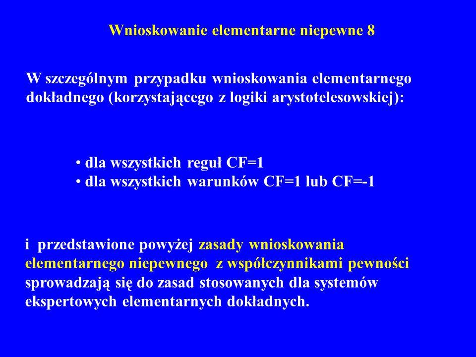 Wnioskowanie elementarne niepewne 8 W szczególnym przypadku wnioskowania elementarnego dokładnego (korzystającego z logiki arystotelesowskiej): i prze