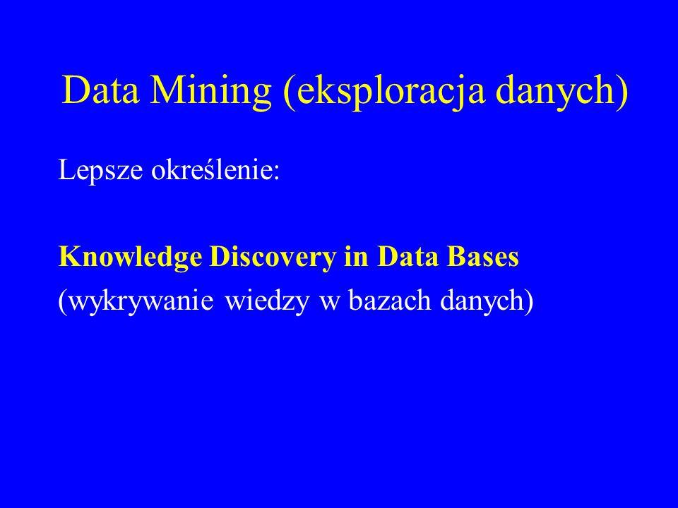 Data Mining (eksploracja danych) Lepsze określenie: Knowledge Discovery in Data Bases (wykrywanie wiedzy w bazach danych)