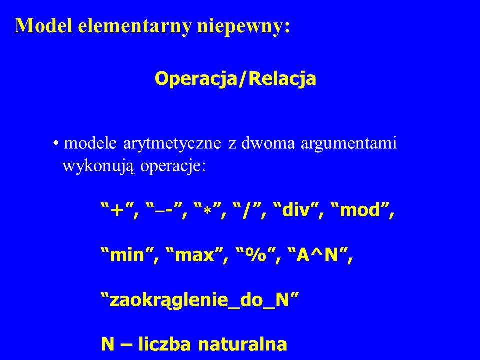Model elementarny niepewny: Operacja/Relacja modele arytmetyczne z dwoma argumentami wykonują operacje: +, -,, /, div, mod, min, max, %, A^N, zaokrągl