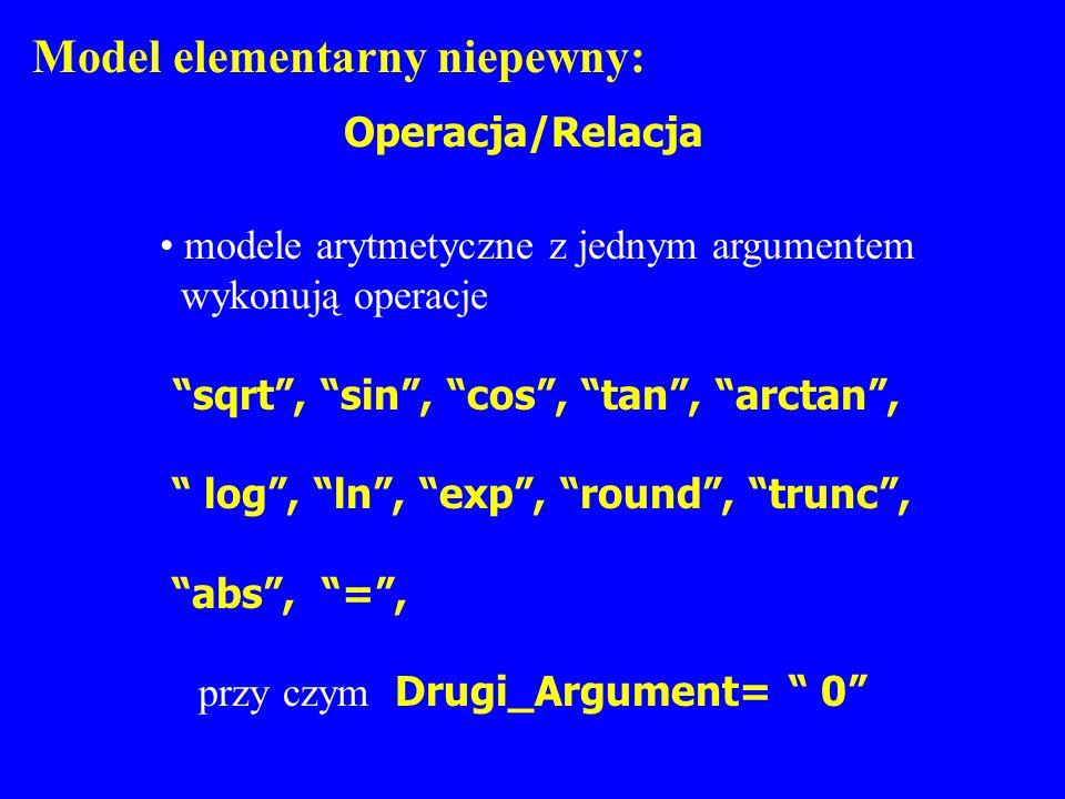 Model elementarny niepewny: Operacja/Relacja modele arytmetyczne z jednym argumentem wykonują operacje sqrt, sin, cos, tan, arctan, log, ln, exp, roun