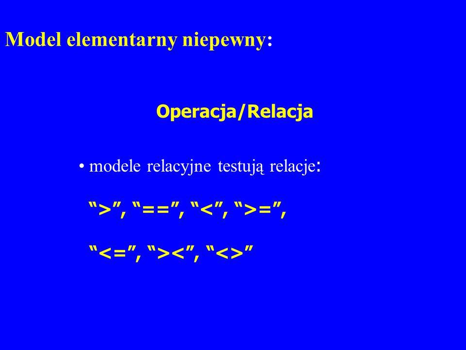 Model elementarny niepewny: Operacja/Relacja modele relacyjne testują relacje : >, ==, =,