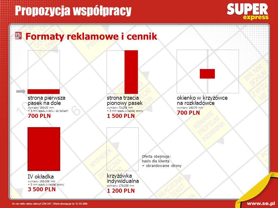 Formaty reklamowe i cennik Propozycja współpracy Do cen netto należy doliczyć 22% VAT. Oferta obowiązuje do 31 XII 2009. IV okładka wymiary: 185x258 m