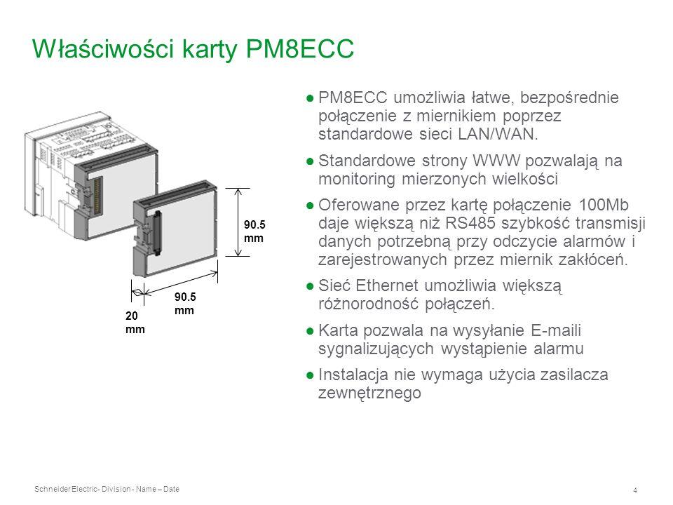 Schneider Electric 4 - Division - Name – Date Właściwości karty PM8ECC PM8ECC umożliwia łatwe, bezpośrednie połączenie z miernikiem poprzez standardow