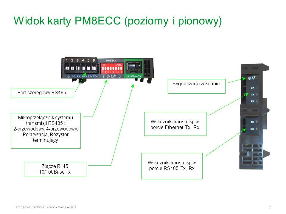 Schneider Electric 7 - Division - Name – Date Widok karty PM8ECC (poziomy i pionowy) Port szeregowy RS485 Złącze RJ45 10/100Base Tx Mikroprzełącznik s