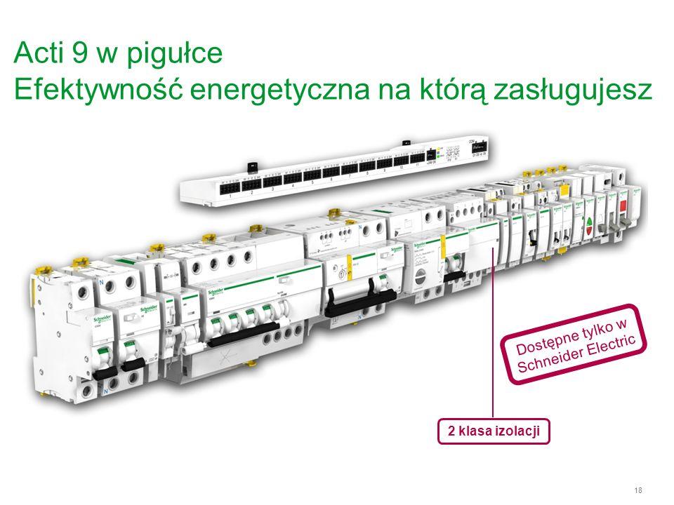 18 Acti 9 w pigułce Efektywność energetyczna na którą zasługujesz 2 klasa izolacji Dostępne tylko w Schneider Electric