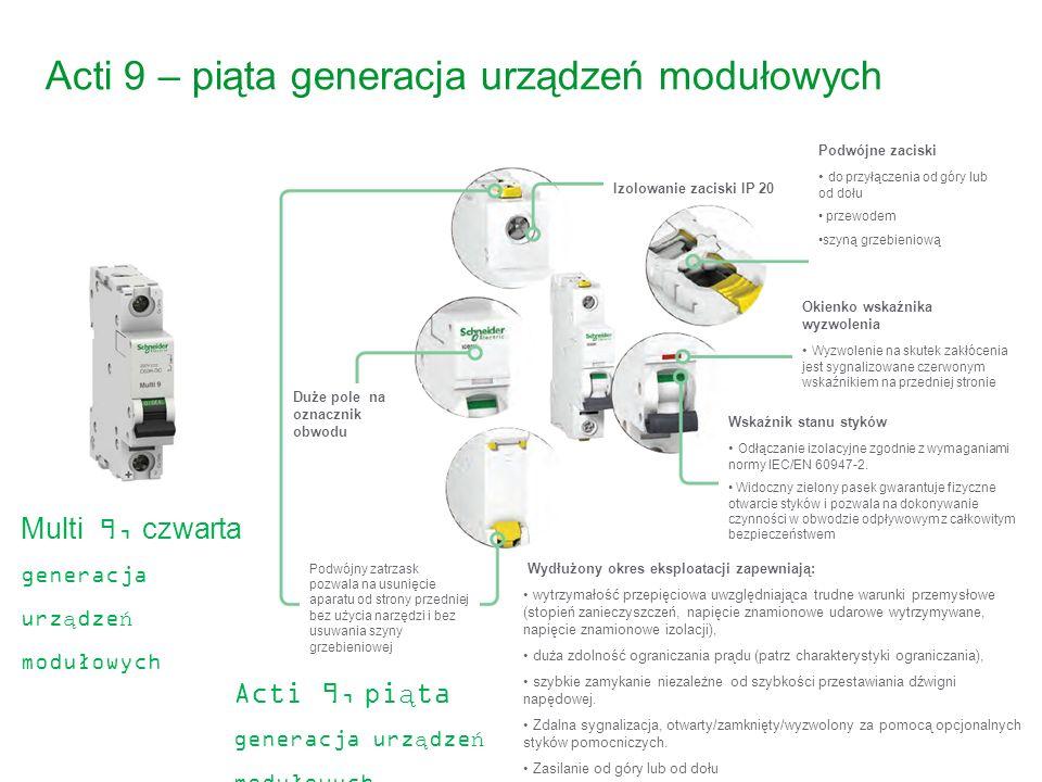 21 Acti 9 – piąta generacja urządzeń modułowych Acti 9, piąta generacja urządzeń modułowych 2010 iC60 Multi 9, czwarta generacja urządzeń modułowych I