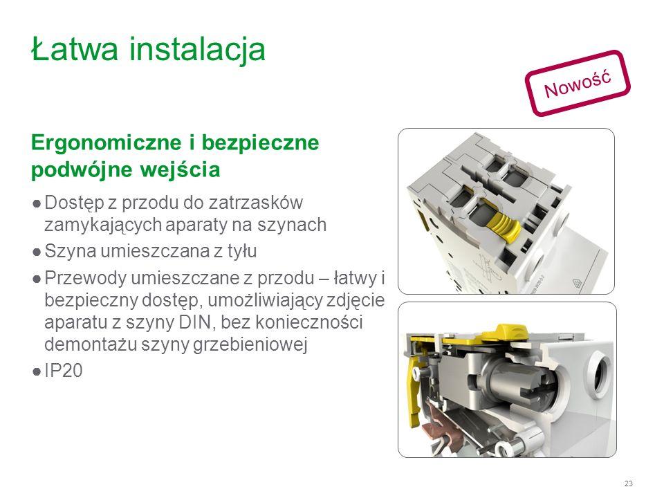 23 Łatwa instalacja Ergonomiczne i bezpieczne podwójne wejścia Nowość Dostęp z przodu do zatrzasków zamykających aparaty na szynach Szyna umieszczana