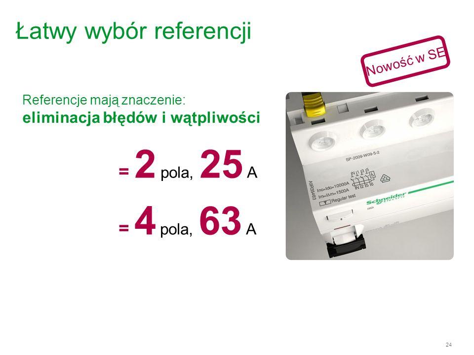 24 Łatwy wybór referencji Referencje mają znaczenie: eliminacja błędów i wątpliwości = 2 pola, 25 A = 4 pola, 63 A Nowość w SE