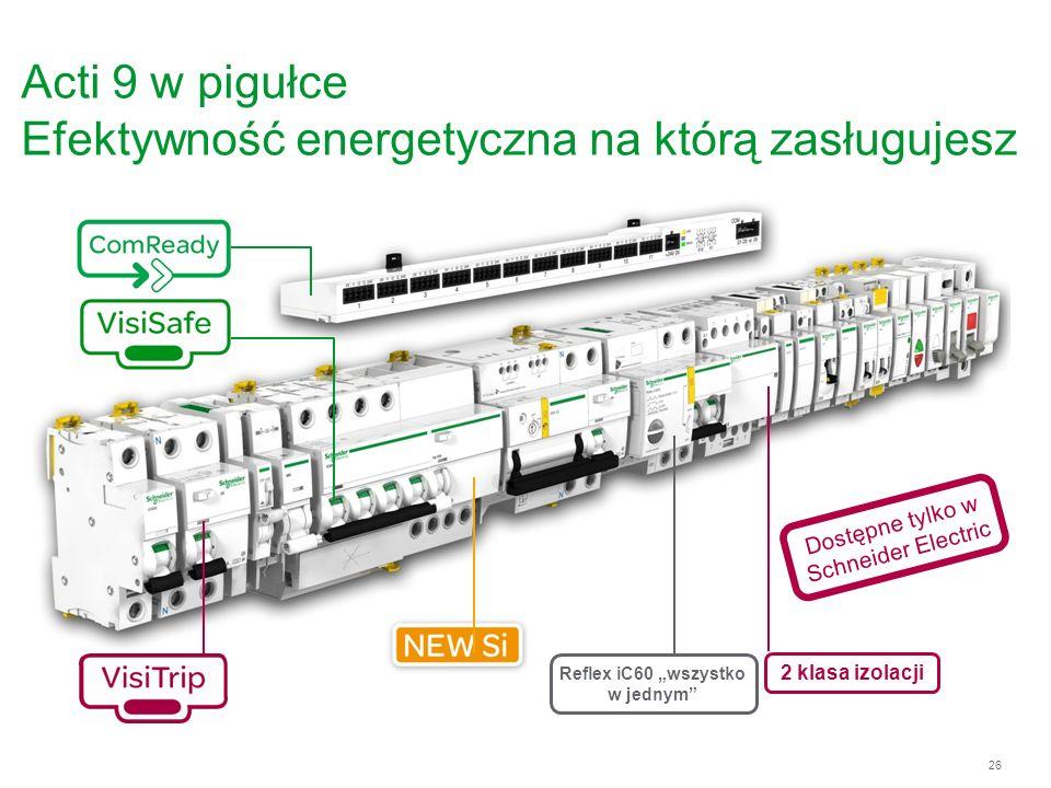 26 Acti 9 w pigułce Efektywność energetyczna na którą zasługujesz 2 klasa izolacji Dostępne tylko w Schneider Electric Reflex iC60 wszystko w jednym