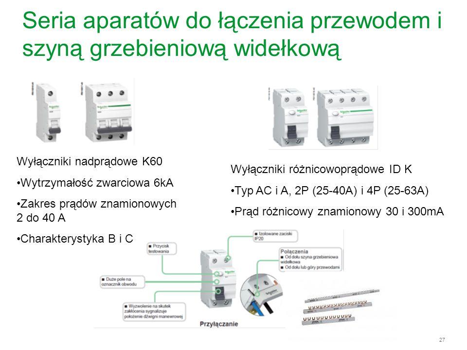 27 Seria aparatów do łączenia przewodem i szyną grzebieniową widełkową Wyłączniki różnicowoprądowe ID K Typ AC i A, 2P (25-40A) i 4P (25-63A) Prąd róż