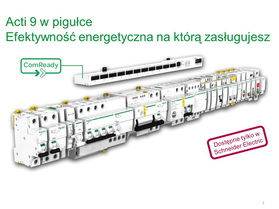 4 Acti 9, system komunikacji Miernictwo Kontrola Obserwacja Interfejs WE/WY (x11) Adresowanie Interfejs komunikacyjny 24V DC zasilania