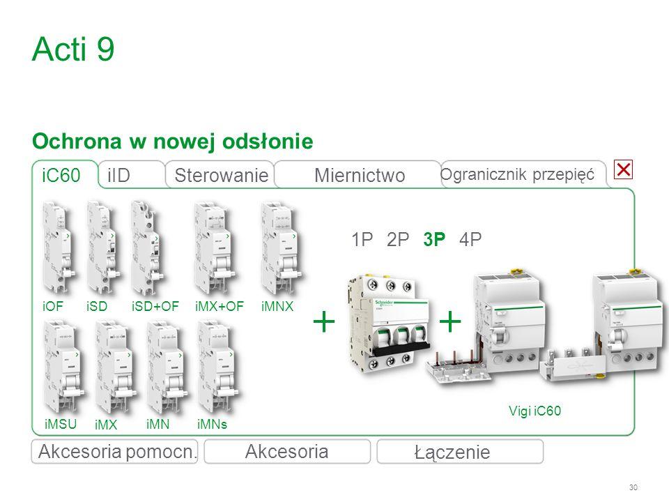 30 iC60 1P2P3P4P Acti 9 iID Vigi iC60 iOFiSDiSD+OFiMX+OFiMNX iMSU iMX iMNiMNs Ochrona w nowej odsłonie Łączenie Akcesoria Ogranicznik przepięć Sterowa