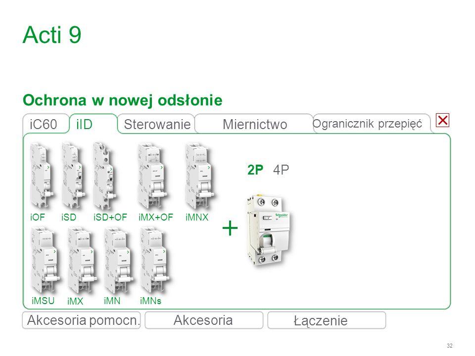 32 iID 2P4P iC60 Acti 9 iOFiSDiSD+OFiMX+OFiMNX iMSU iMX iMNiMNs Ochrona w nowej odsłonie Łączenie Akcesoria Ogranicznik przepięć SterowanieMiernictwo