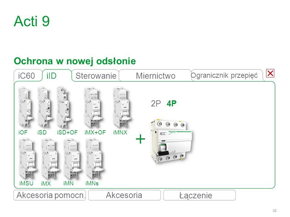 33 iID 2P4P Acti 9 iC60 iOFiSDiSD+OFiMX+OFiMNX iMSU iMX iMNiMNs Ochrona w nowej odsłonie Łączenie Akcesoria Ogranicznik przepięć SterowanieMiernictwo