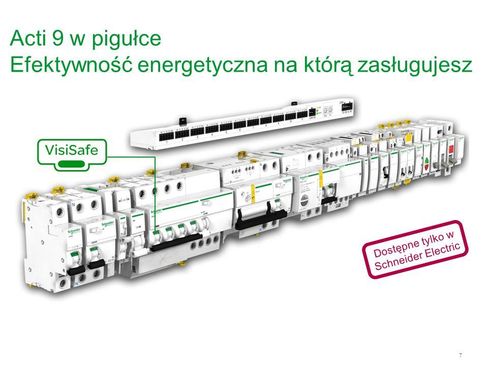 8 Acti 9 = Bezpieczeństwo VisiSafe - widoczny zielony pasek gwarantuje fizyczne otwarcie styków i pozwala na dokonywanie czynności w obwodzie odpływowym z całkowitym bezpieczeństwem