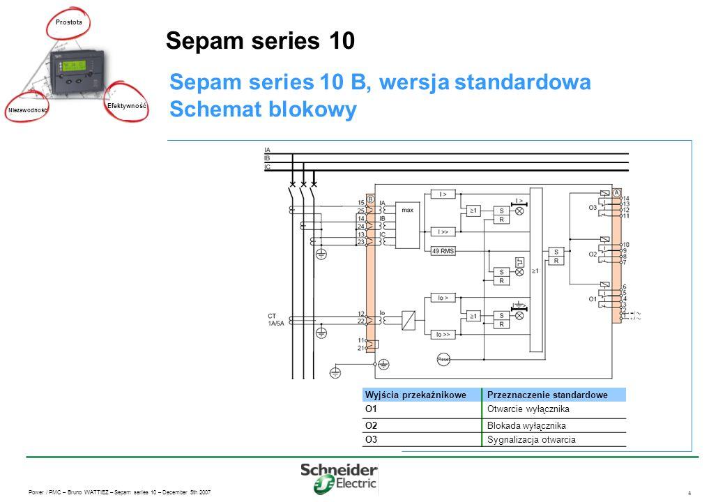 Power / PMC – Bruno WATTIEZ – Sepam series 10 – December 5th 2007 4 Sepam series 10 Prostota Efektywność Niezawodność Sepam series 10 B, wersja standa