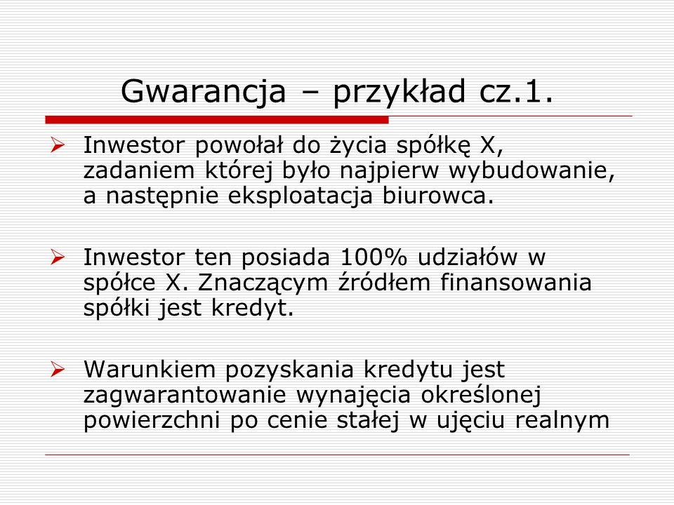 Gwarancja – przykład cz.1. Inwestor powołał do życia spółkę X, zadaniem której było najpierw wybudowanie, a następnie eksploatacja biurowca. Inwestor
