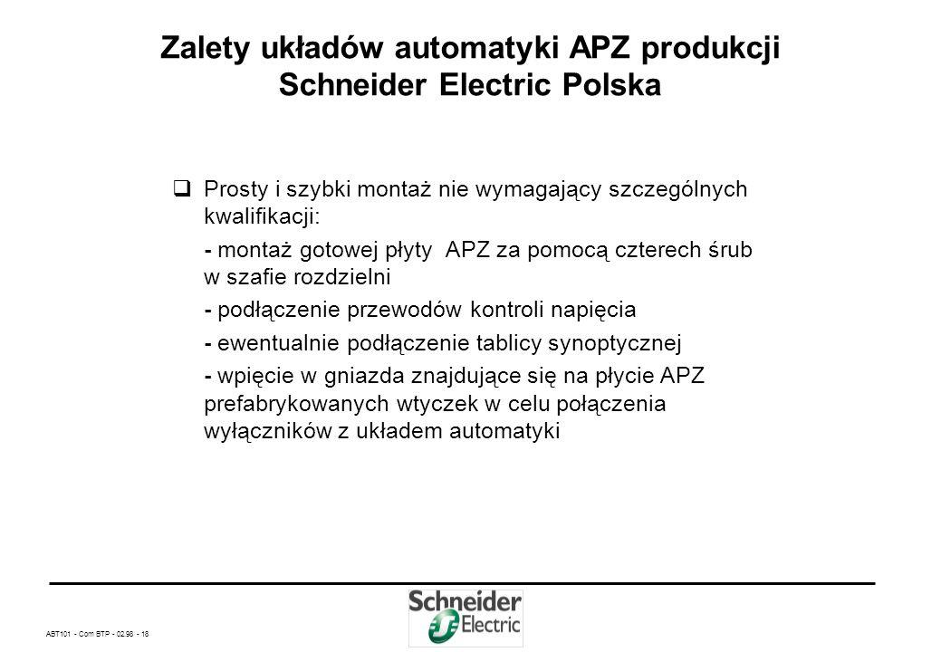 ABT101 - Com BTP - 02.98 - 17 Zalety układów automatyki APZ produkcji Schneider Electric Polska Nie wymaga szczegółowego projektowania – wystarczy z k