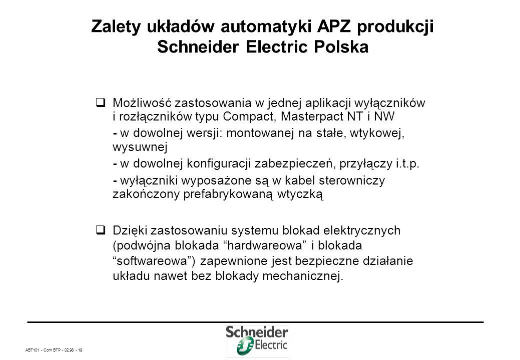 ABT101 - Com BTP - 02.98 - 18 Zalety układów automatyki APZ produkcji Schneider Electric Polska Prosty i szybki montaż nie wymagający szczególnych kwa