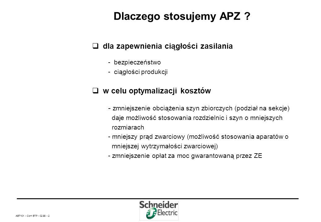 ABT101 - Com BTP - 02.98 - 22 Dane techniczne układów automatyki APZ produkcji Schneider Electric Polska – Kontrola 3 faz źródła zasilania -próg pod napięciowy regulowany w granicach od 300V do 430V z histerezą + 5% -próg nad napięciowy regulowany w granicach od 420V do 580V z histerezą – 5% – Kontrola obecności faz – Kontrola kolejności faz – Czas od zaniku napięcia na źródle do podjęcia akcji przełączania zasilania standardowo wynosi 2sek.