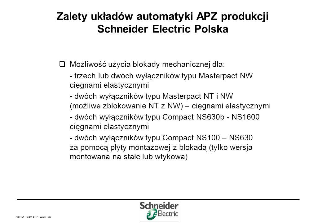 ABT101 - Com BTP - 02.98 - 19 Zalety układów automatyki APZ produkcji Schneider Electric Polska Możliwość zastosowania w jednej aplikacji wyłączników