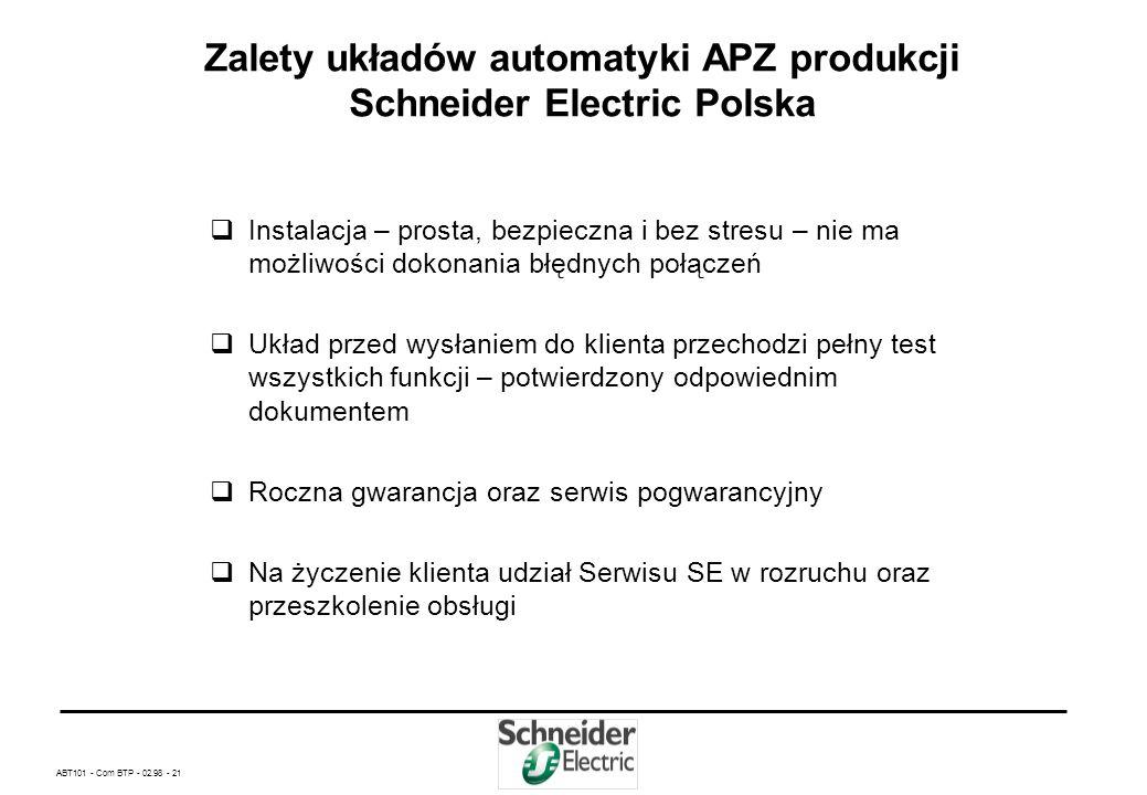 ABT101 - Com BTP - 02.98 - 20 Zalety układów automatyki APZ produkcji Schneider Electric Polska Możliwość użycia blokady mechanicznej dla: - trzech lu