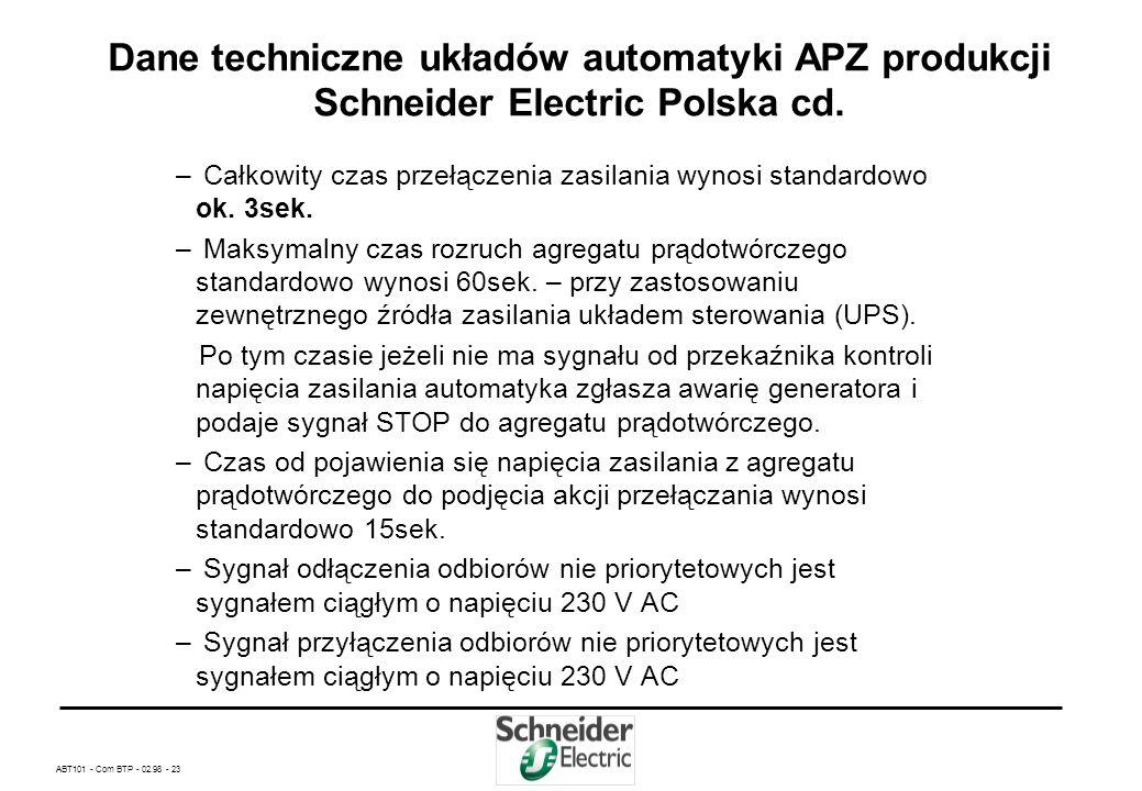 ABT101 - Com BTP - 02.98 - 22 Dane techniczne układów automatyki APZ produkcji Schneider Electric Polska – Kontrola 3 faz źródła zasilania -próg pod n