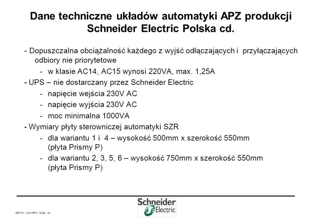 ABT101 - Com BTP - 02.98 - 23 Dane techniczne układów automatyki APZ produkcji Schneider Electric Polska cd. – Całkowity czas przełączenia zasilania w