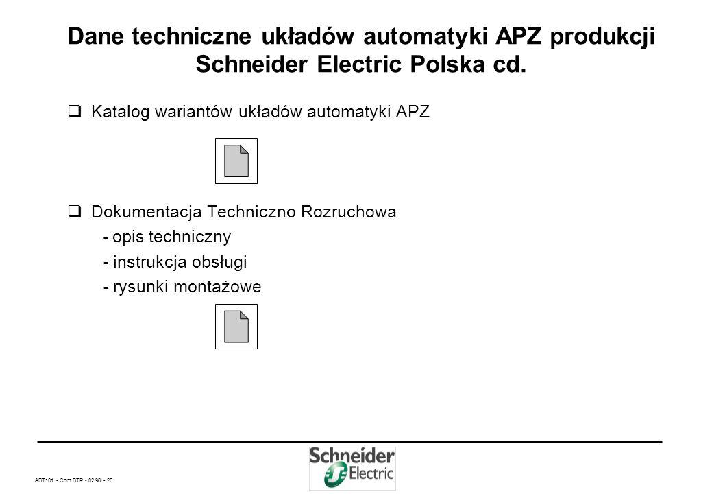 ABT101 - Com BTP - 02.98 - 25 Dane techniczne układów automatyki APZ produkcji Schneider Electric Polska cd. - Wymiary tablicy synoptyczno - sterownic