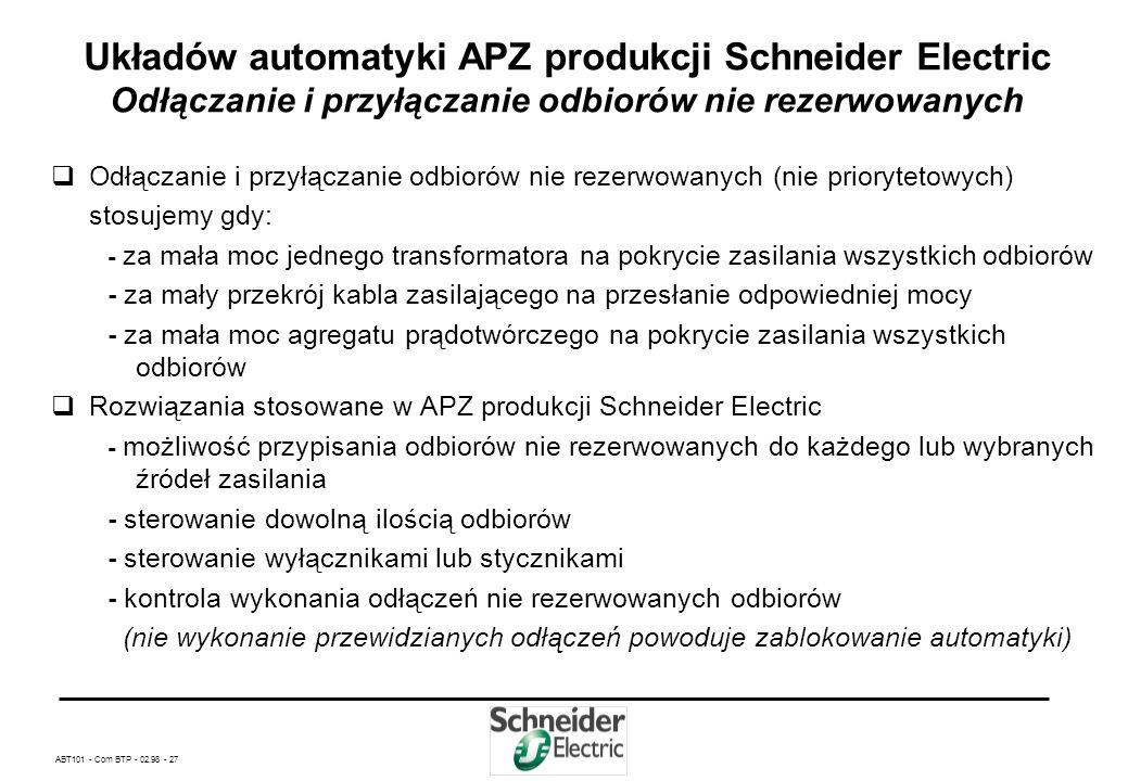ABT101 - Com BTP - 02.98 - 26 Dane techniczne układów automatyki APZ produkcji Schneider Electric Polska cd. Katalog wariantów układów automatyki APZ