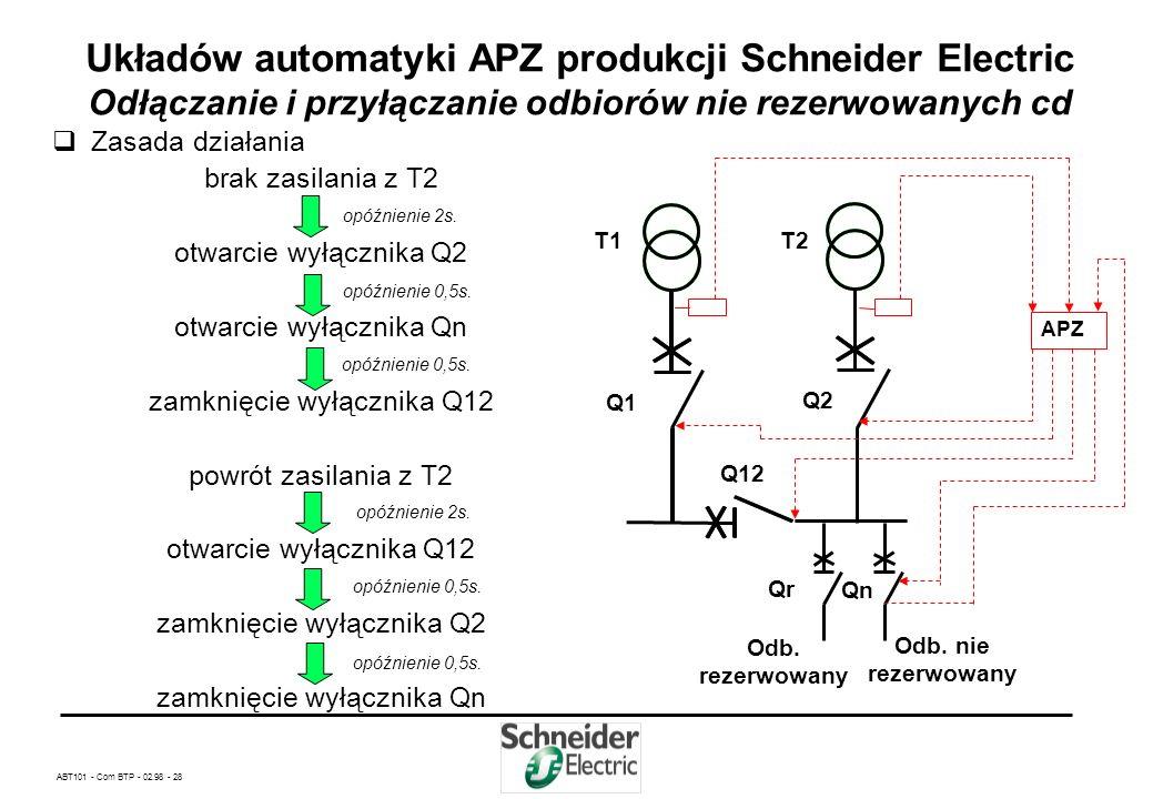 ABT101 - Com BTP - 02.98 - 27 Układów automatyki APZ produkcji Schneider Electric Odłączanie i przyłączanie odbiorów nie rezerwowanych Odłączanie i pr