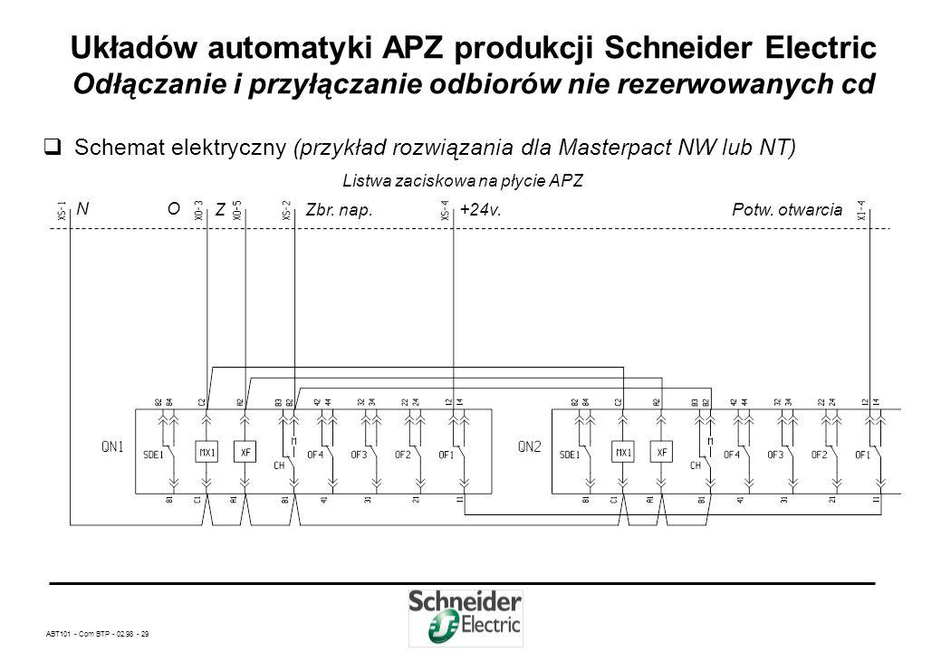 ABT101 - Com BTP - 02.98 - 28 Układów automatyki APZ produkcji Schneider Electric Odłączanie i przyłączanie odbiorów nie rezerwowanych cd Zasada dział