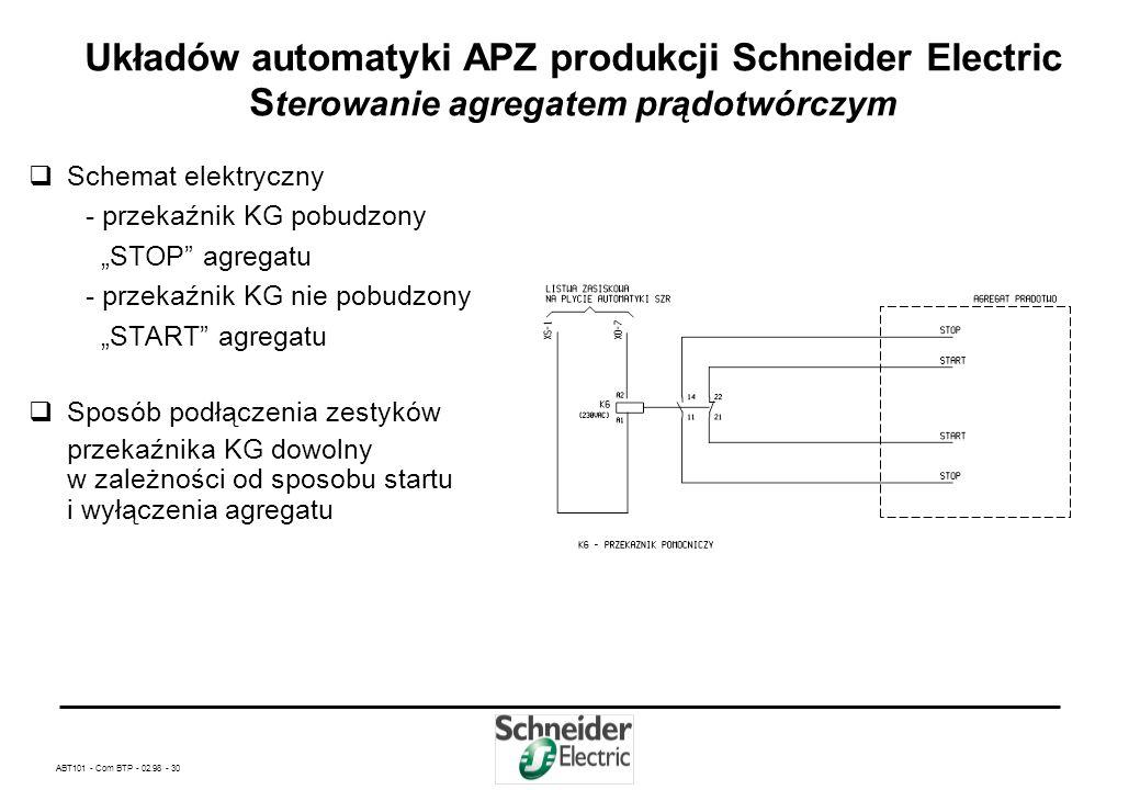 ABT101 - Com BTP - 02.98 - 29 Układów automatyki APZ produkcji Schneider Electric Odłączanie i przyłączanie odbiorów nie rezerwowanych cd Schemat elek