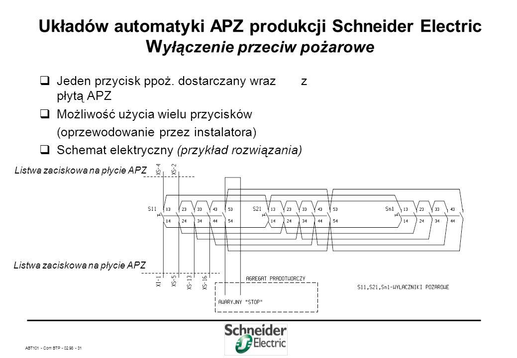 ABT101 - Com BTP - 02.98 - 30 Układów automatyki APZ produkcji Schneider Electric S terowanie agregatem prądotwórczym Schemat elektryczny - przekaźnik
