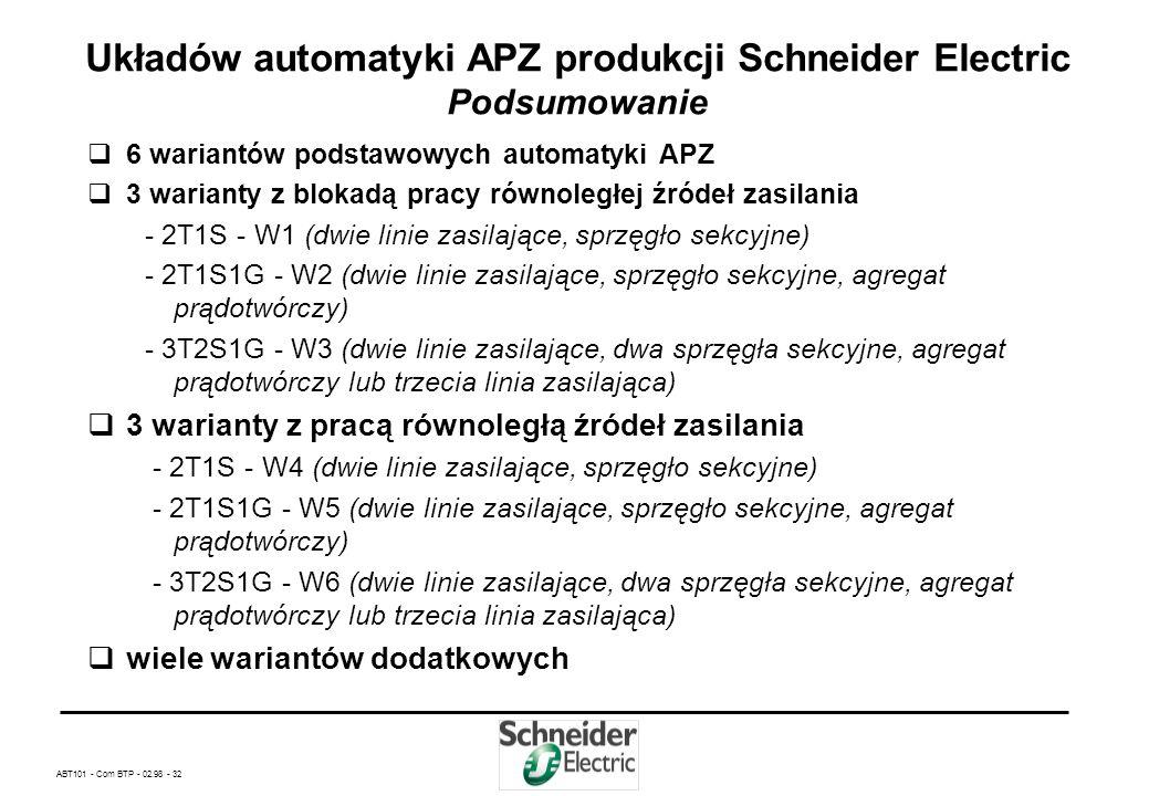 ABT101 - Com BTP - 02.98 - 31 Układów automatyki APZ produkcji Schneider Electric W yłączenie przeciw pożarowe Jeden przycisk ppoż. dostarczany wraz z