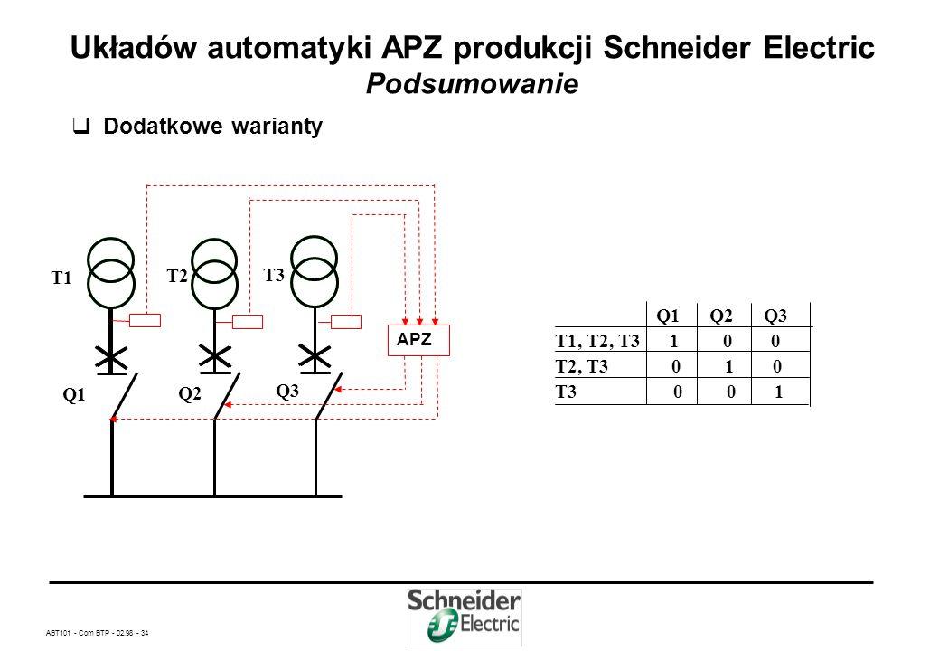 ABT101 - Com BTP - 02.98 - 33 Układów automatyki APZ produkcji Schneider Electric Podsumowanie Dodatkowe warianty APZ Q1 Q2 Q12 T1, T2 1 1 0 T1 1 0 0