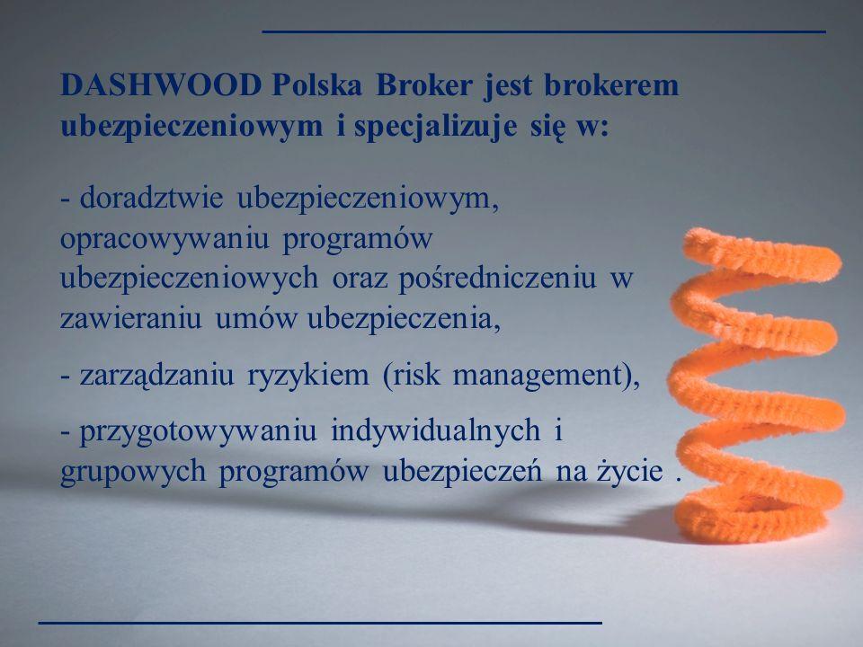 DASHWOOD Polska Broker jest brokerem ubezpieczeniowym i specjalizuje się w: - doradztwie ubezpieczeniowym, opracowywaniu programów ubezpieczeniowych o