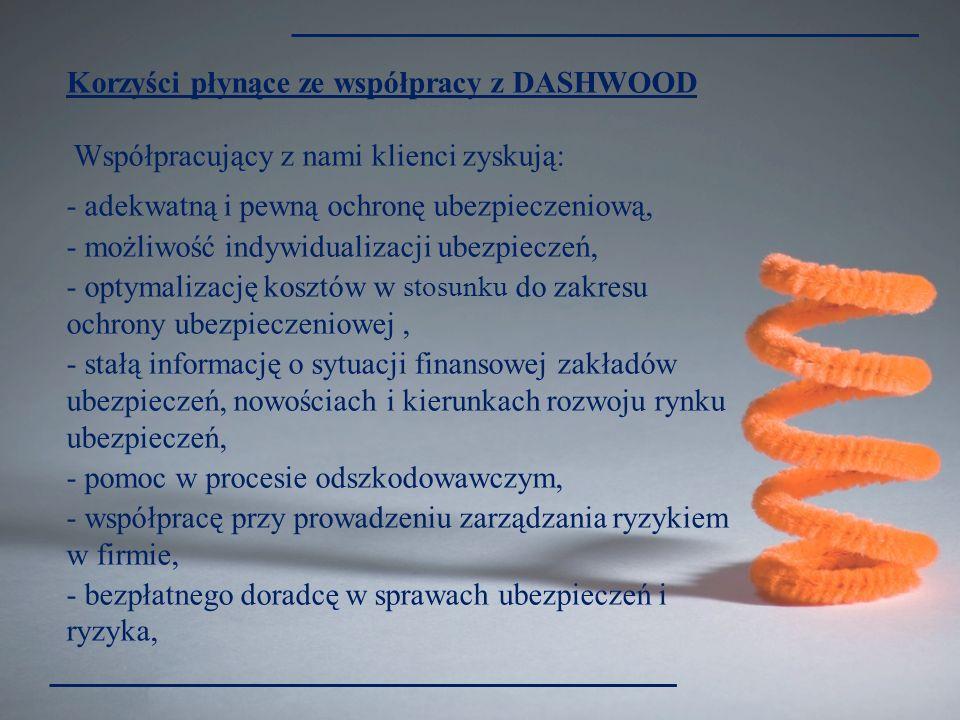Korzyści płynące ze współpracy z DASHWOOD Współpracujący z nami klienci zyskują: - adekwatną i pewną ochronę ubezpieczeniową, - możliwość indywidualiz